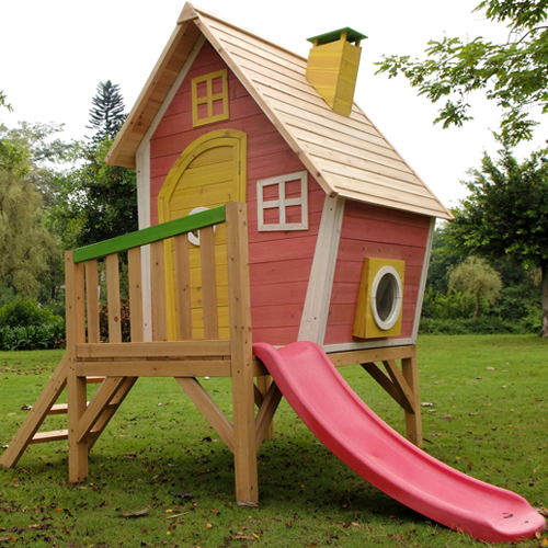 Kids Wooden Crazy Tower Slide Playhouse