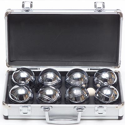 Metal Box of Classic Petanque Boules (4 player)